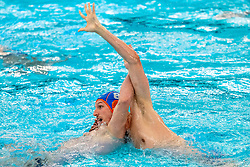 Jesse Nispeling of the Netherlands in action against Montenegro during the Olympic qualifying tournament. The Dutch water polo players are on the hunt for a starting ticket for the Olympic Games on February 19, 2021 in Rotterdam