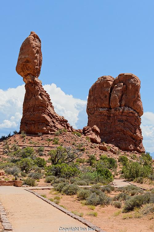 Balanced Rock, Arches National Park, Natural rock formations, Utah, USA.