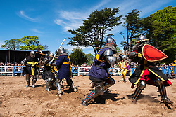 Rival teams of knights fight in List during the  International Medieval Combat Federation (IMCF) World Championships  at Scone Palace on May 12, 2018 at Scone Palace in Perth, Scotland.