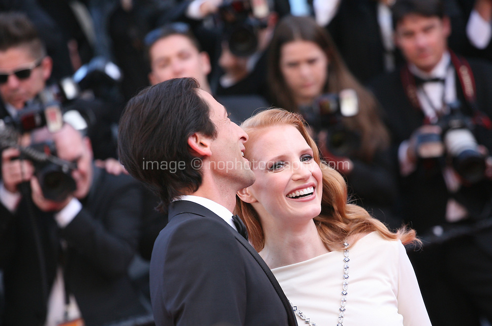 Adrien Brody and Jessica Chastain at the 'Behind The Candelabra' gala screening at the Cannes Film Festival  Tuesday 21 May 2013