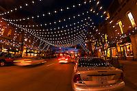 Larimer Square in Downtown Denver illuminated for the holiday season, Denver, Colorado USA