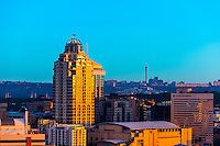 "Skyline of Sandton, Johannesburg, South Africa. Sandton is one of the most opulent areas of Johannesburg. It is the new financial district of South Africa  and Johannesburg's premier business district, known as ""Africa's richest square mile."""