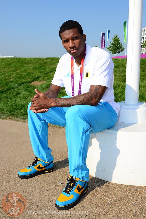 Jul 26, 2012; London, United Kingdom; Bahamas athletics athlete Demetrius Pinder during the Bahamas flag raising ceremony in Olympic village one day before the London 2012 Olympic Games at Olympic Park.
