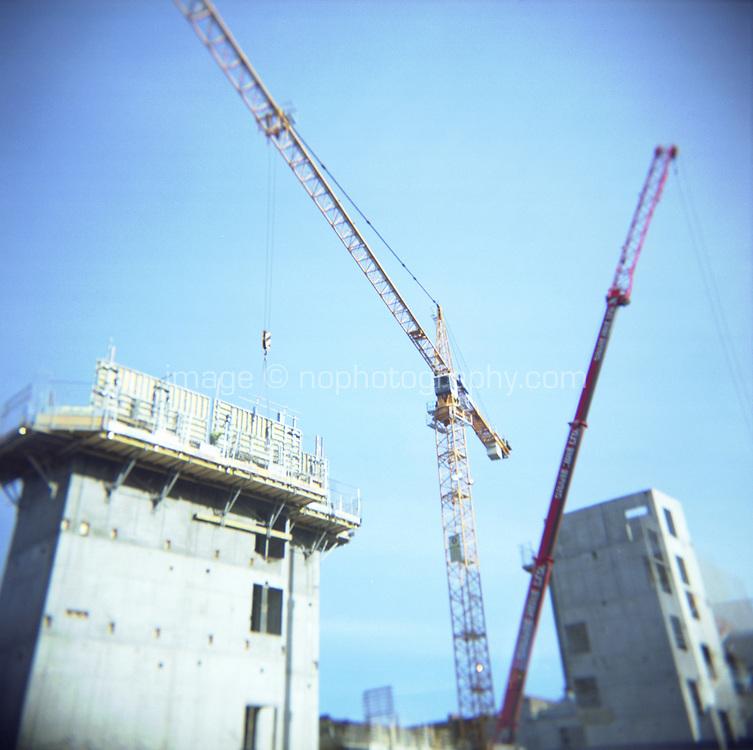 Cranes at building site in Dublin city Centre Ireland