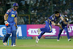 April 22, 2018 - Jaipur, Rajasthan, India - Mumbai Indians bowler Jasprit Bumrah bowls during the IPL T20 match against  Rajasthan Royals  at Sawai Mansingh Stadium in Jaipur on 22 April,2018.(Photo By Vishal Bhatnagar/NurPhoto) (Credit Image: © Vishal Bhatnagar/NurPhoto via ZUMA Press)