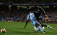 Photo: Paul Thomas.<br /> Manchester City v Chelsea. The Barclays Premiership. 14/03/2007.<br /> <br /> Micah Richards (L) of City fouls Salomon Kalou in the penalty box.
