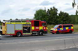 © Licensed to London News Pictures. 07/06/2020. LONDON, UK.  Police and a fire officers attend the scene at Fryent Country Park in Wembley.  According to reports, two women were found unresponsive and were pronounced dead at the scene.  Photo credit: Stephen Chung/LNP