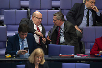 17 FEB 2016, BERLIN/GERMANY:<br /> Peter Altmaier (L), CDU, Kanzleramtsminister, und Thomas de Maiziere (R), CDU, Bundesinnenminister, im Gespraech, waehrend der Debatte zur Regierunsgerklaerung der Bundeskanzlerin zum Europaeischen Rat, Plenum, Deutscher Bundestag<br /> IMAGE: 20160217-03-055<br /> KEYWORDS: Debatte, Gespräch, Thomas de Maizière