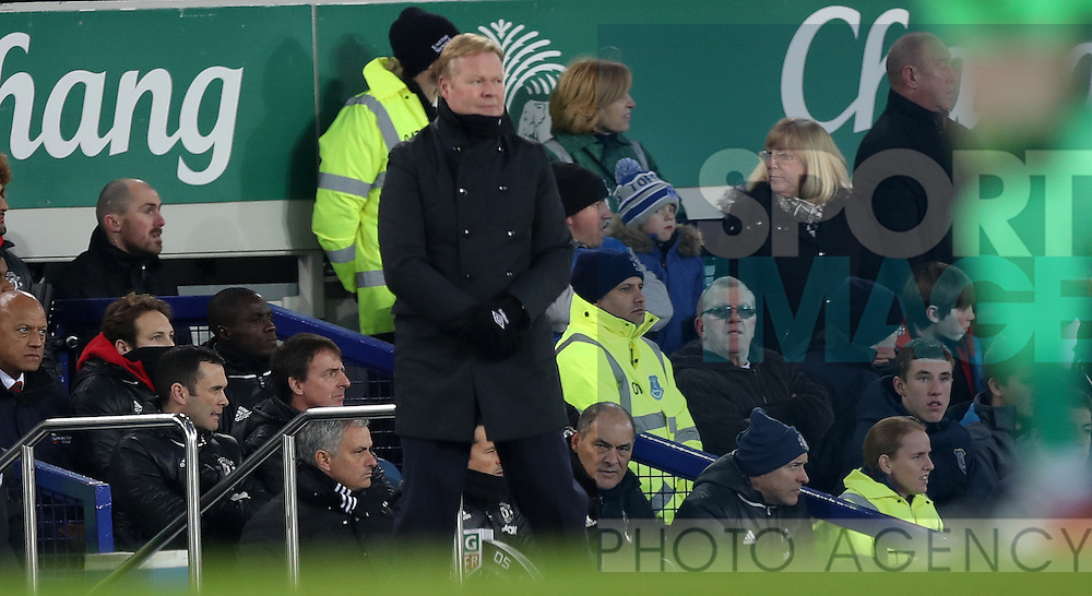 Everton manager Ronald Koeman  and Jose Mourinho of Manchester United during the Premier League match at Goodison Park, Liverpool. Picture date: December 4th, 2016.Photo credit should read: Lynne Cameron/Sportimage