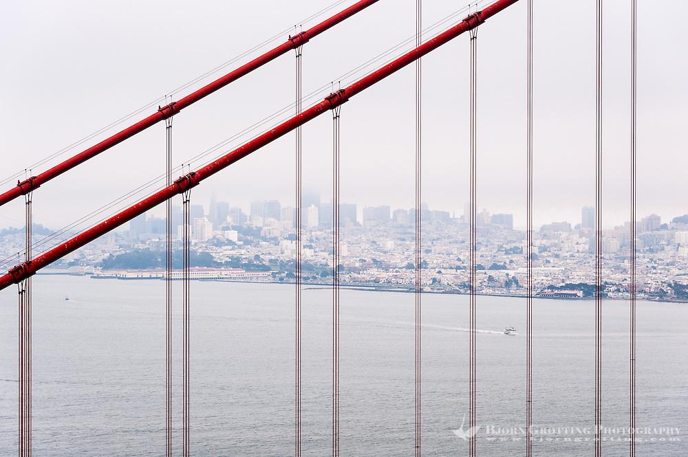 United States, California, San Francisco. Golden Gate Bridge from Marin County side.