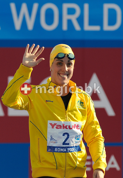 Felicity GALVEZ of Australia waves her hand before competing in the women's 100m butterfly semifinal at the 13th FINA World Championships at the Foro Italico complex in Rome, Italy, Sunday, July 26, 2009. (Photo by Patrick B. Kraemer / MAGICPBK)