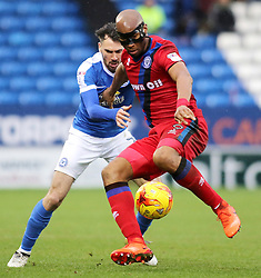 Calvin Andrew of Rochdale holds off Michael Smith of Peterborough United - Mandatory by-line: Joe Dent/JMP - 25/02/2017 - FOOTBALL - ABAX Stadium - Peterborough, England - Peterborough United v Rochdale - Sky Bet League One