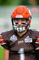 KELOWNA, BC - AUGUST 17:  Alex Douglas #1 of Okanagan Sun returns to the bench against the Westshore Rebels  at the Apple Bowl on August 17, 2019 in Kelowna, Canada. (Photo by Marissa Baecker/Shoot the Breeze)