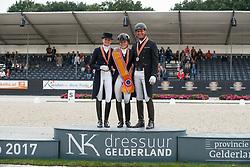 Podium Lichte tour, Maas Lynne, Van der Meer Patrick, Van der Putten Marieke, NED<br /> Nederlands Kampioenschap Dressuur <br /> Ermelo 2017<br /> © Hippo Foto - Dirk Caremans<br /> 15/07/2017