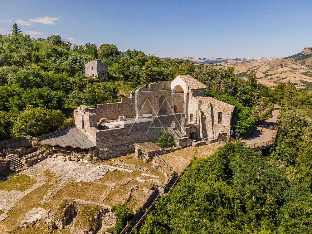 Aerial view of a destroyed and collapsed church due 1980 Irpinia earthquake, Archeological park of Conza della Campania, Avellino, Italia.