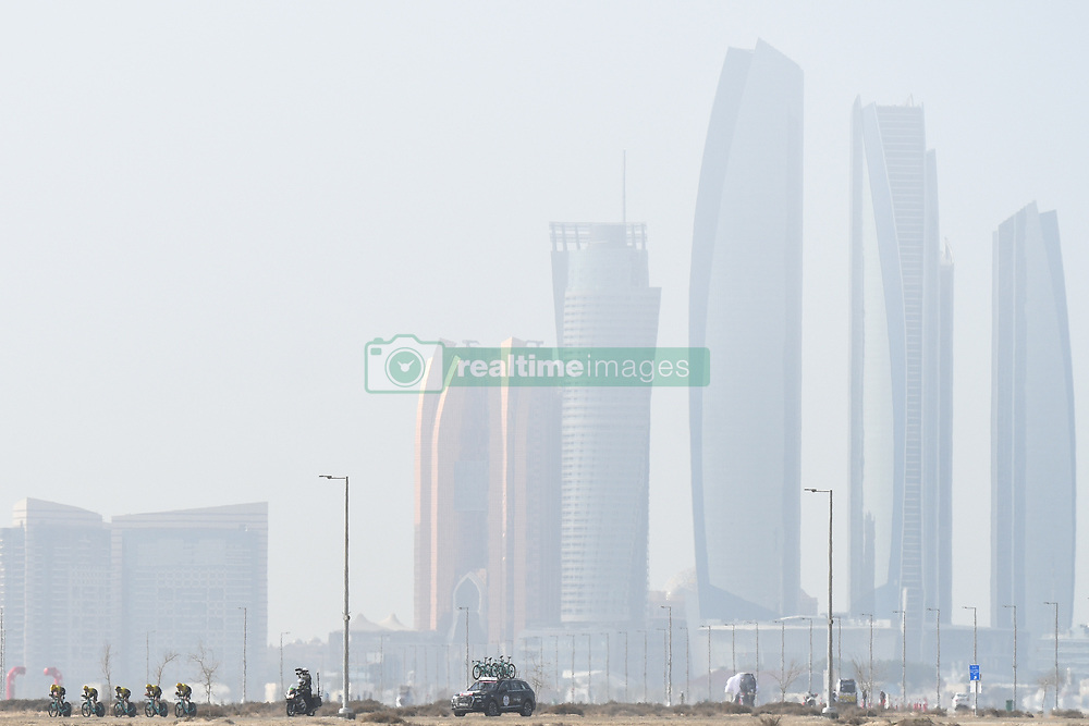 February 24, 2019 - Abu Dhabi, United Arab Emirates - Members of Team Jumbo-Visma in action during the Team Time Trial, the opening ADNOC stage of the inaugural UAE Tour 2019..On Sunday, February 24, 2019, Abu Dhabi, United Arab Emirates. (Credit Image: © Artur Widak/NurPhoto via ZUMA Press)
