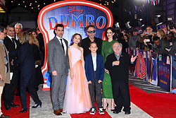 (left to right) Colin Farrell, Nico Parker,  Tim Burton, Finley Hobbins, Eva Green and Danny DeVito attending the european premiere of Dumbo held at Curzon Mayfair, London. Photo credit should read: Doug Peters/EMPICS