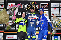 March 1, 2017 - Dour, BELGIUM - L-R, second, Luxembourgian Alex Kirsch of WB Veranclassic Aqua Protect, winner Belgian Guillaume Van Keirsbulck of Wanty-Groupe Gobert and third, Belgian Iljo Keisse of Quick-Step Floors celebrate on the podium after the 49th edition of the Grand Prix du Samyn cycling race, Wednesday 01 March 2017. The race starts in Quaregnon and ends in Dour (202,6km). The Grand Prix du Samyn is also the first round of the Napoleon Games Cup. BELGA PHOTO DAVID STOCKMAN (Credit Image: © David Stockman/Belga via ZUMA Press)