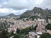 Taormina, Sicily Elevated view of the city from the ruins of the greek theatre