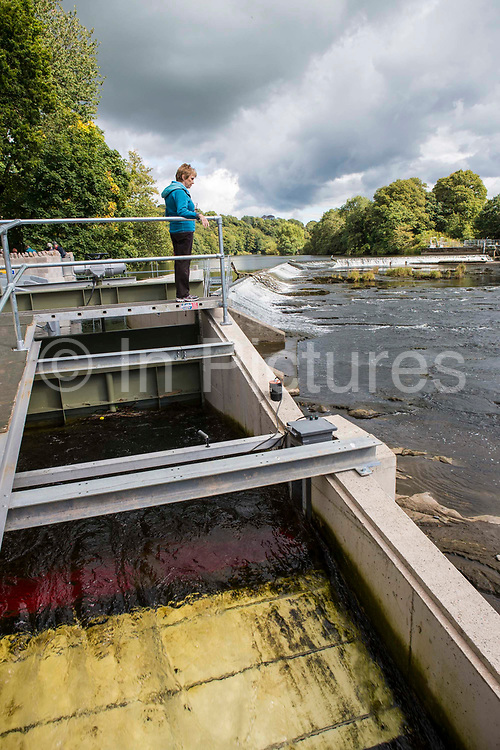 Investors and locals walk along the water entrance to Halton Lune hydro, a community owned renewable energy project, Halton, Lancashire.
