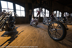 Eric Allard and Josh Brennan's 1965 Harley-Davidson Ironhead known as Glam Fairy from Florida on setup day for the Mama Tried Bike Show. Milwaukee, WI, USA. Friday, February 17, 2017. Photography ©2017 Michael Lichter.