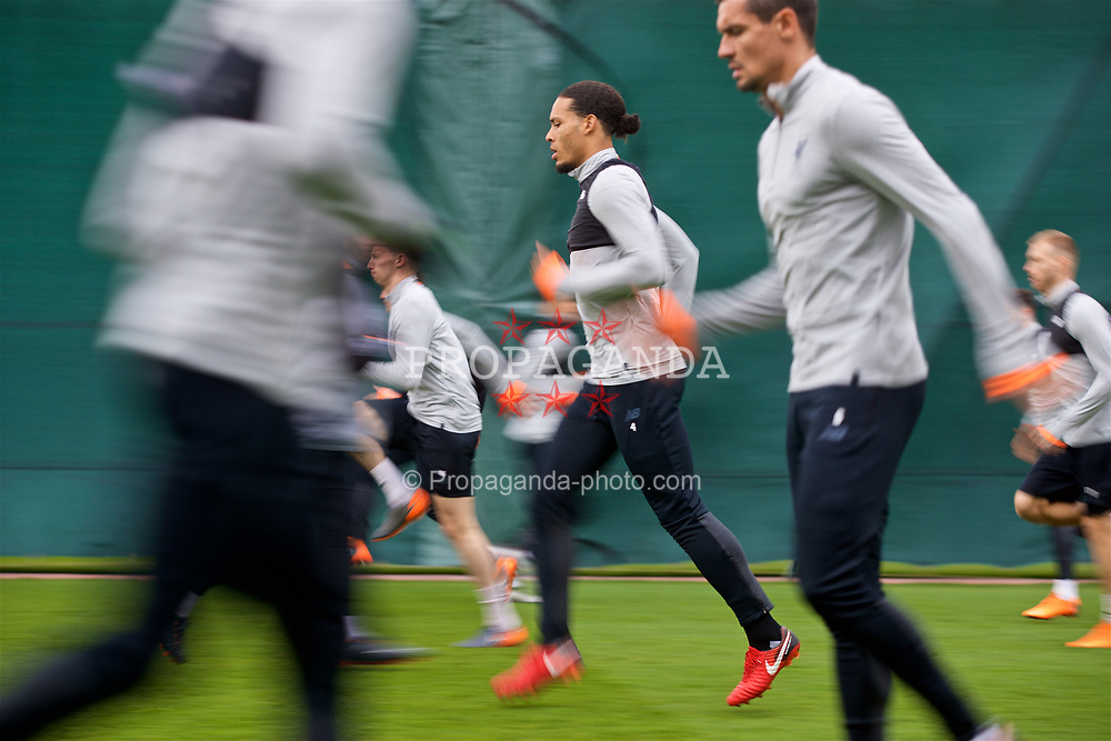 LIVERPOOL, ENGLAND - Monday, April 9, 2018: Liverpool's Virgil van Dijk during a training session at Melwood Training Ground ahead of the UEFA Champions League Quarter-Final 2nd Leg match between Manchester City FC and Liverpool FC. (Pic by David Rawcliffe/Propaganda)