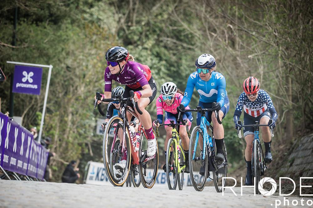 Demi Vollering (NED/SD Worx), Leah Thomas (USA/Movistar), Ruth Winder (USA/Trek Segafredo) and Elisa Balsamo (ITA/Valcar - Travel and Service) in front of the race<br /> <br /> Women's Elite Brabantse Pijl 2021 <br /> 1 Day Race: Lennik - Overijse 127km<br /> <br /> ©Rhode.Photo