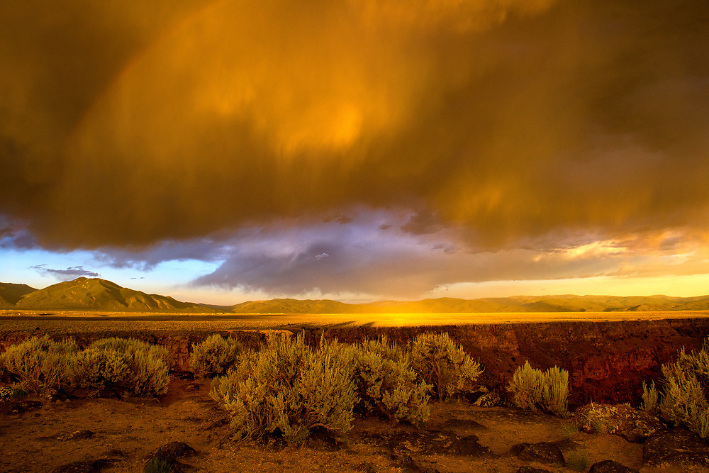 Epic summer storm and sunset, Trail at Rio Grande Gorge Bridge, Taos County, New Mexico
