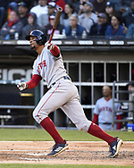 CHICAGO - MAY 04:  Xander Bogaerts #2 of the Boston Red Sox hits a home run against the Chicago White Sox on May 4, 2019 at Guaranteed Rate Field in Chicago, Illinois.  (Photo by Ron Vesely)  Subject:  Xander Bogaerts