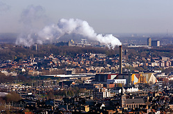 BRUSSELS, BELGIUM - APRIL-04-2007 - Brussels city scape showing trash burning power plant with smoke rising from the smoke stack. (Photo © Jock Fistick)