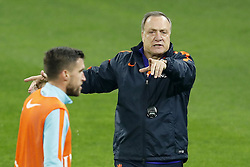 (L-R) Kevin Strootman of Holland, coach Dick Advocaat of Holland during a training session prior to the friendly match between Romania and The Netherlands on November 13, 2017 at Arena National in Bucharest, Romania
