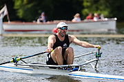 Race: 55  O.MasC.1x  Leicester Rowing Club (Smith) vs Wallingford Rowing Club (Hull)<br /> <br /> Henley Masters Regatta 2019 - Friday<br /> <br /> To purchase this photo, or to see pricing information for Prints and Downloads, click the blue 'Add to Cart' button at the top-right of the page.