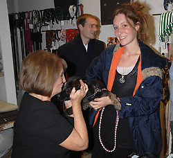 Left to right, LADY ANNABEL GOLDSMITH and BEN & KATE GOLDSMITH and their dog Maggie at a book signing of Lady Annabel Goldsmith's book 'Copper: A Dog's Life' held at Mungo & Maud, 79 Elizabeth Street, London SW1 on 20th February 2007.<br /><br />NON EXCLUSIVE - WORLD RIGHTS