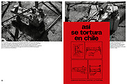 Methods of torture during the Pinochet regime with photographs of beds to which the prisoner would be attached and tortured with electro shocks.