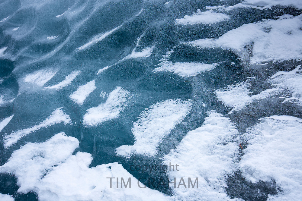 Graphic close up of dramatic glacial ice on Svinafellsjokull glacier, an outlet glacier of Vatnajokull, South Iceland