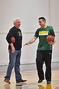 April 3, 2016; Indianapolis, Ind.; Head coach Ryan McCarthy and his dad chat before the team's practice session at Harvest Pavilion on the Indiana State Fair grounds.