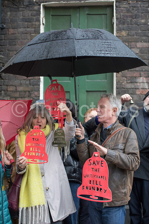 Protesters campaign against London Borough of Tower Hamlets planning decision to develop the Whitechapel Bell Foundry into a boutique hotel on the 9th November 2019 in East London in the United Kingdom. Whitechapel Bell Foundry closed in June 2017, having cast bells in the East End for almost 450 years. Campaigning with East End Preservation Society, directly petitioning Tower Hamlets Council to preserve the foundry on the grounds of its great historical importance. Operating in Whitechapel from the 1570s — and from its current location since the mid 1740s — the foundry produced world famous bells, including Big Ben, 1858, and the Liberty Bell. Before it shut its doors, Whitechapel was one of two remaining bell foundries in the UK. The site is now owned by property developer, Raycliff, which wants to turn the site into a boutique Hotel.