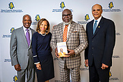 Chancellor Harold L. Martin Sr. and his wife Davida Wagner Martin, and Board of Trustees Chairman Timothy King, with master communicator, multidimensional businessman and international thought leader T.D. Jakes at North Carolina Agricultural and Technical State University's spring Chancellor's Speaker Series on Thursday, April 11, 2019.<br /> <br /> (Chris English/Tigermoth Creative)