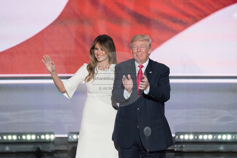 GOP Presidential candidate Donald Trump with his wife Melania after accepting the party nomination for president on the final day of the Republican National Convention July 21, 2016 in Cleveland, Ohio.