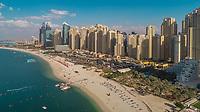 Aerial view of the Marina beach in Dubai, U.A.E.