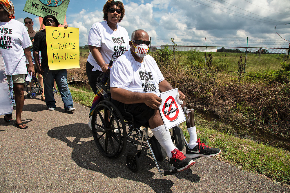 Milton Cayette, Jr.. Sharon Lavigne's brother  taking part in the Rise for Cancer Alley march in St. James, Louisiana on Burton Lane on September 8, 2018.