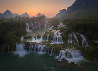 Aerial view of the Detian Falls during the morning, China-Vietnam