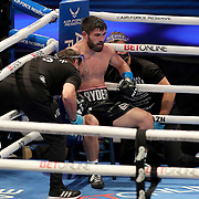 John Ryder rests on his stool between rounds in his fight against Michael Guy during the undercard bout of the Gennady Golovkin versus Kamil Szeremeta world title fight at the Seminole Hard Rock Hotel and Casino in Hollywood, Florida USA on 18, Dec 2020. Photo: Alex Menendez