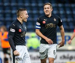 Falkirk's John Baird cele scoring their second goal. <br /> Falkirk 5 v 0 Alloa Athletic, Scottish Championship game played at The Falkirk Stadium. © Ross Schofield