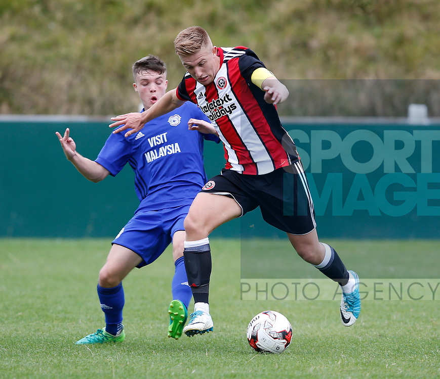 Harvey Gilmour of Sheffield Utd during the professional development league two match at the Bracken Moor Stadium, Stocksbridge. Picture date 21st August 2017. Picture credit should read: Simon Bellis/Sportimage