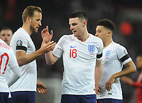 Football - 2018 / 2019 UEFA European Championships Qualifier - Group A: England vs. Czech Republic<br /> <br /> Declan Rice celebrates with Harry Kane after England's 5th goal, at Wembley Stadium.<br /> <br /> COLORSPORT/ANDREW COWIE