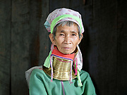 Portrait of Maria, a Kayan ethnic minority woman at her home in Kayah State, Myanmar on 12th November 2016. Myanmar is one of the most ethnically diverse countries in Southeast Asia with 135 different indigenous ethnic groups. There are over a dozen ethnic Karenni subgroups in the region including the Kayan who are perhaps the best known due to the traditional practice of the Kayan women extending their necks with brass rings