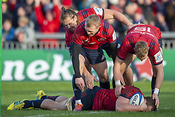 December 9, 2018 - Limerick, Ireland - CJ Stander of Munster scores a try during the Heineken Champions Cup Round 3 match between Munster Rugby and Castres Qlympique at Thomond Park Stadium in Limerick, Ireland on December 9, 2018  (Credit Image: © Andrew Surma/NurPhoto via ZUMA Press)