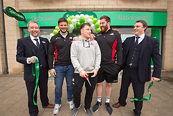 Director's Adam Gordon and Ian Hobson, with Edinburgh rugby players Ross Ford, Duncan Weir and Simon Berghan officially opened the new Specsavers store at 70 St John Road, Corstorphine, Edinburgh.