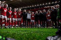 Bristol City Women huddle after the final whistle of the match - Mandatory by-line: Ryan Hiscott/JMP - 17/02/2020 - FOOTBALL - Ashton Gate Stadium - Bristol, England - Bristol City Women v Everton Women - Women's FA Cup fifth round
